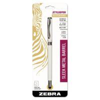 Zebra StylusPen Capped Ballpoint Pen/Stylus, White ZEB33201