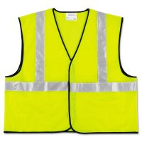MCR Safety Class 2 Safety Vest, Fluorescent Lime w/Silver Stripe, Polyester, Large CRWVCL2SLL