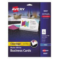 Avery Print-to-the-Edge True Print Business Cards, Inkjet, 2x3 1/2, Wht, 160/Pk AVE8869