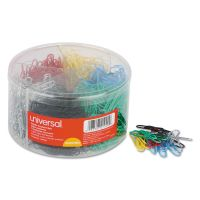 Universal Plastic-Coated Wire Paper Clips, No. 1, Assorted Colors, 1000/Pack UNV21000