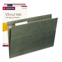 Smead Hanging Folders, 1/3 Tab, 11 Point Stock, Legal, Green, 25/Box SMD64135