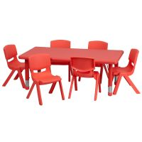 Flash Furniture 24''W x 48''L Adjustable Rectangular Red Plastic Activity Table Set with 6 School Stack Chairs FHFYUYCX00132RECTTBLREDEGG