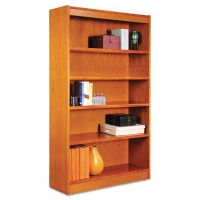 Alera Square Corner Wood Bookcase, Five-Shelf, 35-5/8w x 11-3/4d x 60h, Medium Cherry ALEBCS56036MC