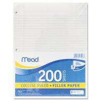 Mead Filler Paper, 15lb, College Rule, 11 x 8 1/2, White, 200 Sheets MEA17208