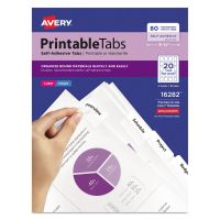Avery Printable Plastic Tabs with Repositionable Adhesive, 1 3/4, White, 80/Pack AVE16282