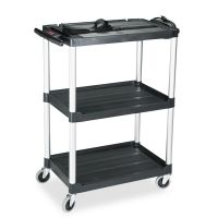 Rubbermaid Commercial MediaMaster Three-Shelf AV Cart, 18-5/8w x 32-1/2d x 42-3/8h, Black RCP9T30