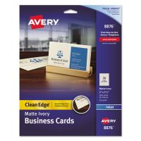 Avery True Print Clean Edge Business Cards, Inkjet, 2 x 3 1/2, Ivory, 200/Pack AVE8876