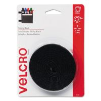 "Velcro Sticky-Back Hook & Loop Fasteners w/Dispenser, 3/4"" x 5ft Roll, Black VEK90086"