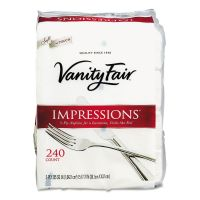 Vanity Fair Impressions Dinner Napkins, 3-Ply, 15 x 17, White, 240/Carton VTF831047