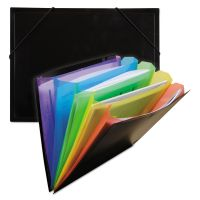 "C-Line Rainbow Document Sorter/Case, 5-Pocket, 5"" Expansion, Letter, Black/Multi CLI59011"
