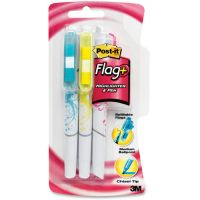 Post-it Flag+ Writing Tools Flag + Highlighter/Pen, BE/PK/YW, White Graphic Barrel, 3/Pack MMM691HLP3