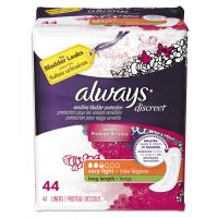 Always Discreet Sensitive Bladder Protection Liners, Very Light, Long,44/Pack PGC92724PK