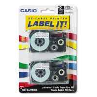 Casio Tape Cassettes for KL Label Makers, 12mm x 26ft, Black on White, 2/Pack CSOXR12WE2S
