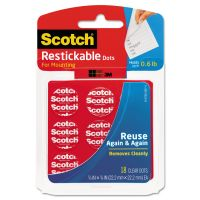 Scotch Restickable Mounting Tabs, 7/8 x 7/8, Clear, 18/Pack MMMR105