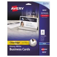 Avery Clean Edge Business Cards, Inkjet, 2 x 3 1/2, Glossy White, 200/Pack AVE8859