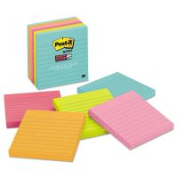 Post-it Notes Super Sticky Pads in Miami Colors, Lined, 4 x 4, 90/Pad, 6 Pads/Pack MMM6756SSMIA