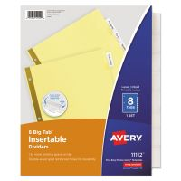 Avery Insertable Big Tab Dividers, 8-Tab, Clear Tab, Letter, 1 Set AVE11112