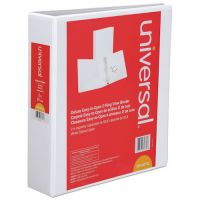 "Universal Deluxe Easy-to-Open 3-Ring View Binder, 2"" Capacity, D-Ring, White UNV30732"