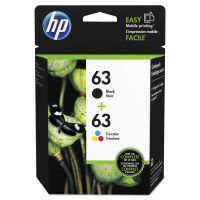 HP 63, (L0R46AN) 2-pack Black/Tri-Color Original Ink Cartridges HEWL0R46AN