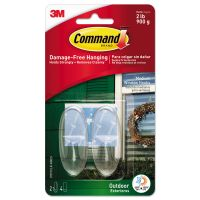 Command All Weather Hooks and Strips, Plastic, Medium, 2 Hooks & 4 Strips/Pack MMM17091CLRAWES