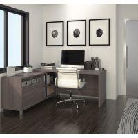 Bestar Pro-Linea L-Desk in Bark Gray BESBES12086347