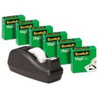 """Scotch Magic Tape Value Pack w/C40 Dispenser, 3/4"""" x 1000"""", 1"""" Core, Clear, 6/Pack MMM810C40BK"""