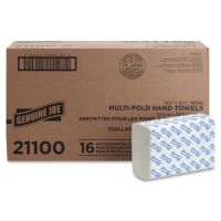 "Genuine Joe Multifold Paper Towels, 9.10"" x 9.50"", White, 250 Sheets/Pack, 16 Packs/Carton GJO21100"
