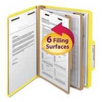 Smead Top Tab Classification Folder, Two Dividers, Six-Section, Letter, Yellow, 10/Box SMD14004