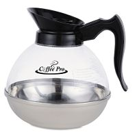 Coffee Pro Unbreakable Regular Coffee Decanter, 12-Cup, Stainless Steel/Polycarbonate OGFCPU12