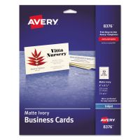Avery Printable Microperf Business Cards, Inkjet, 2 x 3 1/2, Ivory, Matte, 250/Pack AVE8376