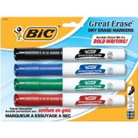 BIC Great Erase Grip Chisel Tip Dry Erase Marker, Assorted, 4/Set BICGDEMP41ASST