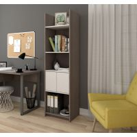 Bestar Small Space 20-inch Storage Tower in Bark Gray and White BESBES167001147