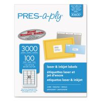 PRES-a-ply Laser Address Labels, 1 x 2 5/8, White, 3000/Box AVE30600