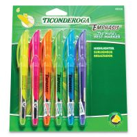 Ticonderoga Emphasis Pocket Style Highlighter, Chisel Tip, 6/Set DIX48008