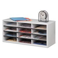 Fellowes Particle Board Desktop Sorter, 12 Sections, 29 x 11 7/8 x 12 15/16, Dove Gray FEL25004