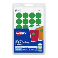 "Avery Printable Removable Color-Coding Labels, 3/4"" dia, Green, 1008/Pack AVE05463"
