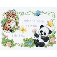 Dimensions Baby Hugs Baby Animals Birth Record Stamped Cross Stitch Kit NOTM299081