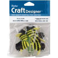 """Chenille Bees W/Wire 1"""" 5/Pkg NOTM225134"""