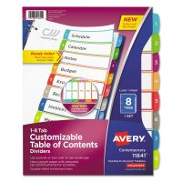 Avery Ready Index Table of Contents Dividers, Multicolor Tabs, 1-8, Letter AVE11841