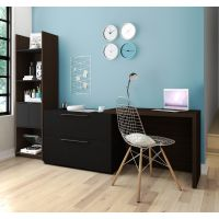 Bestar Small Space 2-Piece Sliding Computer Desk and 20-inch Storage Tower Set in Dark Chocolate and Black BESBES1685579
