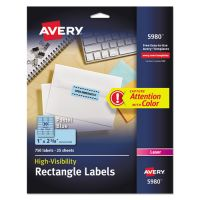 Avery High-Visibility Permanent ID Labels, Laser, 1 x 2 5/8, Pastel Blue, 750/Pack AVE5980