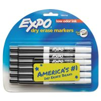 EXPO Low Odor Dry Erase Marker, Fine Point, Black, Dozen SAN86001