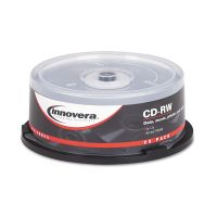 Innovera CD-RW Discs, 700MB/80min, 12x, Spindle, Silver, 25/Pack IVR78825