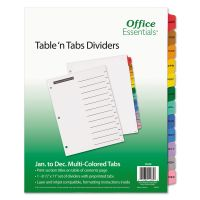 Office Essentials Table 'n Tabs Dividers, 12-Tab, Letter AVE11679