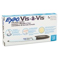 EXPO Vis-à-Vis Wet-Erase Marker, Fine Point, Black, Dozen SAN16001