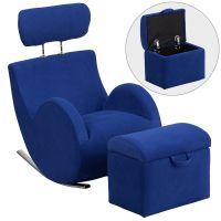 Flash Furniture HERCULES Series Blue Fabric Rocking Chair with Storage Ottoman FHFLD2025BLGG
