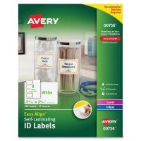 Avery Easy Align Self-Laminating ID Labels, Laser/Inkjet, 2 15/16 x 3 5/16, White, 100 AVE00756