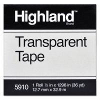 """Highland Transparent Tape, 1/2"""" x 1296"""", 1"""" Core, Clear MMM5910121296"""