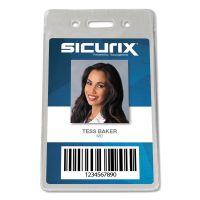 SICURIX Sicurix Proximity Badge Holder, Vertical, 2 1/2w x 4 1/2h, Clear, 50/Pack BAU47820