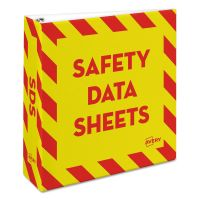 "Avery Safety Data Sheet Heavy-Duty Non-View Preprinted Binder, 3"" Cap, Yellow/Red AVE18952"